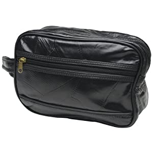 "RoadPro TKL-001BK Black 10"" Patchwork 'Leather-Like' Shave Kit Bag by RoadPro"
