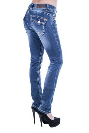 blue monkey damen jeans mit dicken n hten klapptaschen bm3225 32 34. Black Bedroom Furniture Sets. Home Design Ideas