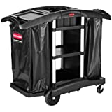 "Rubbermaid Commercial Executive Series 1861441 Full Size Housekeeping Service Cart with Zippered Vinyl Bags, 2 Shelves, 44"" Height, 51-3/4"" Length x 22"" Width"