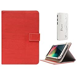 DMG Protective 7in Flip Book Cover Case for Huawei Honor X1 (Red) + 10000 mAh Three USB Port Power Bank