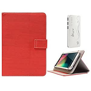 DMG Protective 7in Flip Book Cover Case for LG Google Nexus 7 2012 Edition (Red) + 10000 mAh Three USB Port Power Bank