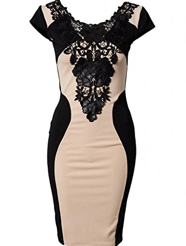 Women Short Sleeve Low Cut Embroidery Party Bodycon Dress With Womdee Accessory