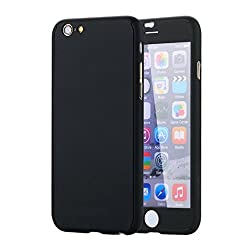 iPhone 6 6S Case,iPhone 6 6S Hybrid Case,MT-Mall(TM) 360 Degree All-round Full Body Protective Case Hard Slim Case with Tempered Glass Screen Protector for iPhone 6 6s(Black)