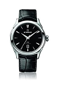 Eterna 1948 Men's Automatic Watch with Black Dial Analogue Display and Black Leather Strap 2950.41.41.1175