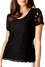 Per Una Cotton Rich Floral Lace Top [T62-2460I-S]