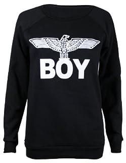 Forever Womens Dope Geek Brookleyn Boy Eagle Print Fleece Sweatshirt (ML-10/12, Boy Black)
