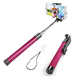 Selfie Stick, Enther® Self-portrait Monopod Extendable Wireless Bluetooth Selfie Stick with built-in Bluetooth Remote Shutter With Adjustable Phone Holder for IOS and Android Devices (Hot Pink)