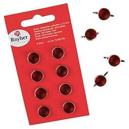 Rayher - 79568290 - tachuelas, de peluche, consumió, diámetro 12 mm, SB-tarjeta 8 pcs, rojo