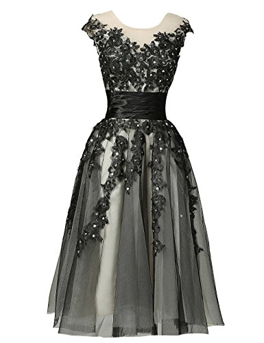 Black Empire Line Laced Party Ball Dresses Size 16