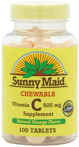 Sunny Maid Vitamin C, 500 Mg, Natural Orange Flavor, 100-Count Chewable Tablets (Pack Of 3) front-153276