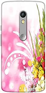 Snoogg Floral Corner Border With Blurred Background Hard Back Case Cover Shield For Motorola X Play