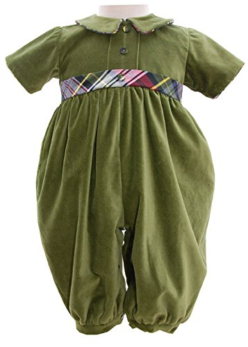 CarouselWear Oliver Little Boys Green Velvet Holiday Overalls