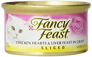Fancy Feast Gourmet Cat Food, Sliced Chicken Hearts & Liver Feast in Gravy, 3-Ounce Cans (Pack of 24)