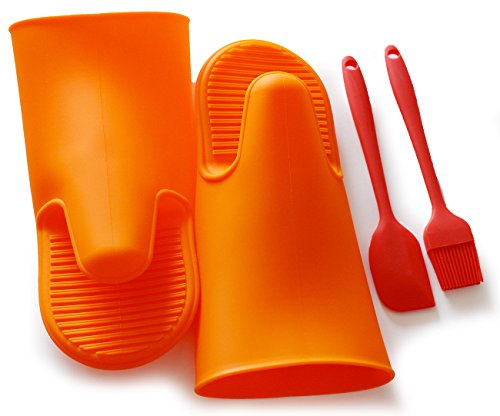 Oven Mitts Silicone Heat-resistant Kitchen Oven Baking Glove Mitt Potholder ( 1 Pair Orange + Brush & spatula ) (Commercial Small Oven compare prices)