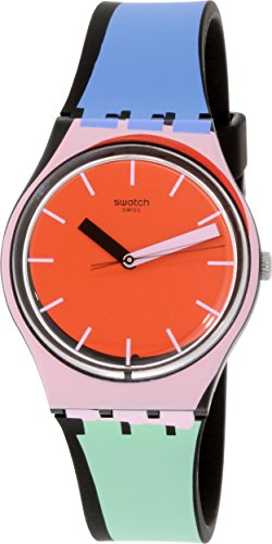 swatch-gb286-a-cote-orange-pink-dial-blue-green-silicone-band-unisex-watch-new
