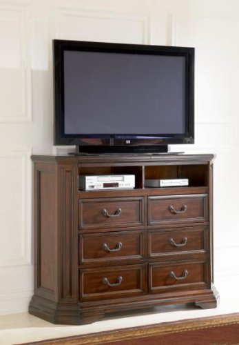 Media Chest Traditional Style With Six Drawers In Deep Brown Finish front-996890
