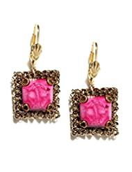 Blissdrizzle Muted Gold-Toned & Pink Drop Earrings