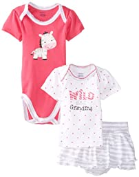 Gerber Baby-Girls Newborn 3 Piece Girls Set Shirt Short and Bodysuit, Zebra, 3-6 Months