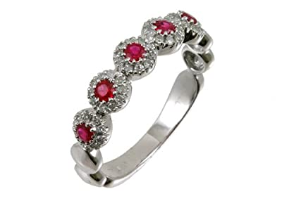 Ariel 9ct White Gold Diamond and Ruby Eternity Ladies Ring