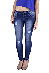 Bat Blue Solid Twill Silky Jeans for Women