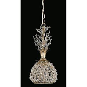 Triarch International 29239 Garland Collection 1-Light Mini Pendant Light, Gold and Silver Leaf Finish with Clear Crystal Beads