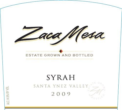 Zaca Mesa Winery 2009  Syrah Santa Barbara County, Santa Ynez Valley 750 mL