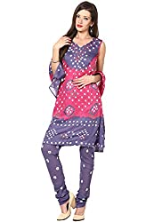 Soundarya Ethnicwear Bandhej Cotton Suit Material for Women (BS3)