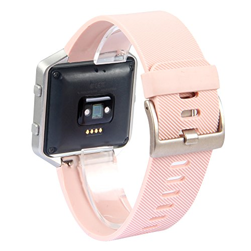 Fitbit Blaze Accessory Band, Classic, Pink, Large, V-Moro Silicon Bracelet Strap Replacement Band For Fitbit Blaze Smart Fitness Watch (Classic,...