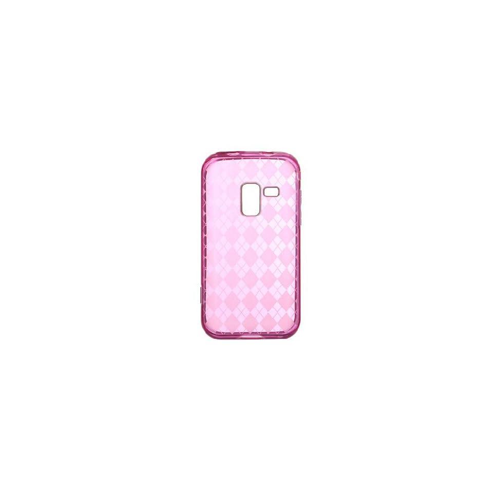 Transparent Hot Pink Argyle Diamond Flex Cover Case for Samsung Galaxy Attain 4G SCH R920 Cell Phones & Accessories