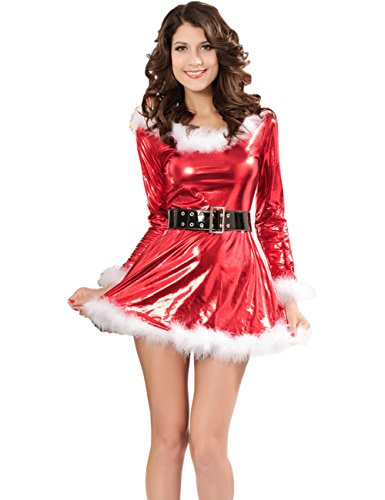 Born Sexy Mrs Miss Christmas Santa Fancy Dress Costume Outfit Hat Long Sleeve
