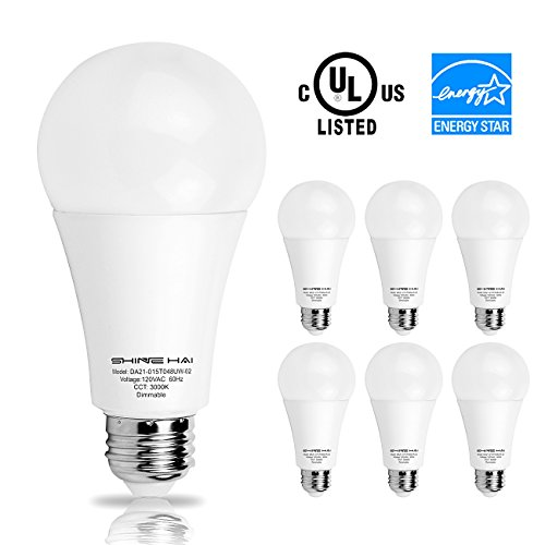 A21 LED Light Bulbs 100W to 120W Equivalent, SHINE HAI 3000K Super Bright White LED bulb, E26 Medium Screw Base, Energy Star, UL-Listed, Dimmable, 5 Years Warranty, Pack of 6 (Led Lights Small Screw compare prices)