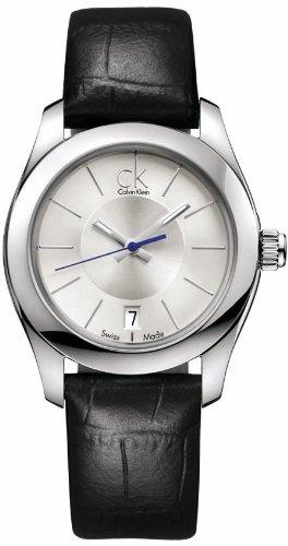 Calvin Klein K0K23126 - Reloj analógico de mujer de cuarzo con correa de piel negra - sumergible a 30 metros