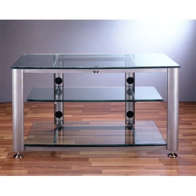 Cheap HGR Series 3-Shelf 42″ TV Stand Pole Color: Black, Glass: Clear (HGR-403B)