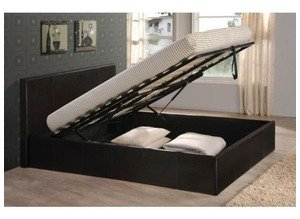 Black 5ft King Size Storage Ottoman Gas Lift Up Bed Frame