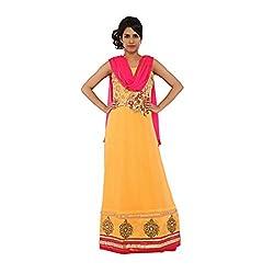Nirali Women's Georgette Salwar Kameez SemiStiched Dress Material - Free Size (Yellow)