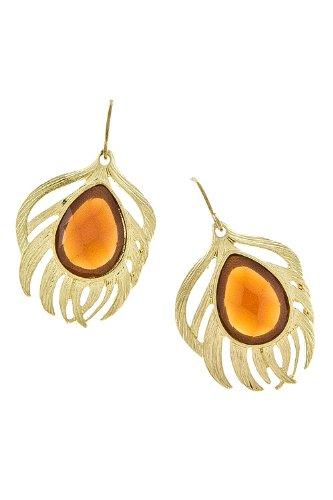 Karmas Canvas Brioette Feather Earrings (Brown)