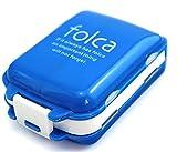お出かけに便利なお薬ケース 携帯 3段分割 ピルケース 常備薬をコンパクトに収納 (ブルー×ホワイト)