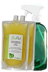 Biolopur | 2 x 400ml KONZENTRAT ergibt 8L Fertiglösung + leere Sprühflasche | BioPet | Geruchsentferner | Haustier - Katze