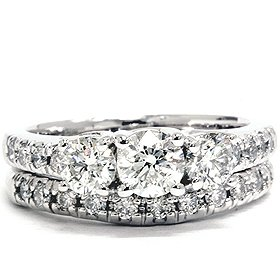 Real SI 1.50CT 3 Three Stone Diamond Engagement Wedding Ring Set White Gold