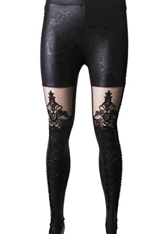 Punk Rave Women's Victorian Style Macbeth Faux Leather Look Leggings with Lace