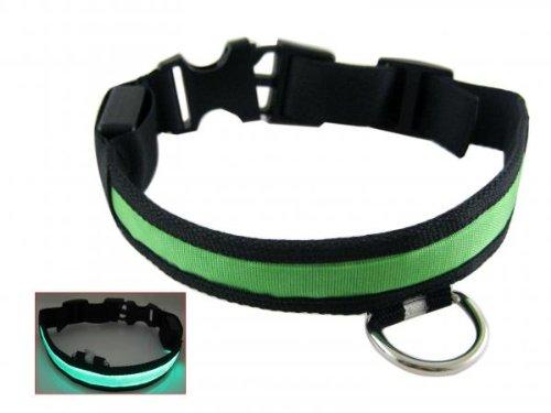 Gosear Nylon Led Pet Dog Night Safety Collar Leash Light-Up Flashing Glow In The Dark