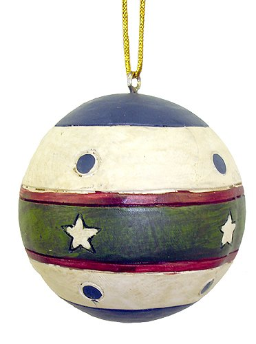 Vintage Stripes & Stars Ball Shaped Christmas Ornament