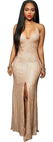 Kearia Women Short Sleeve Deep V-Neck Sequin Split Bodycon Cocktail Party Dress Long Gold Medium