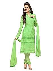 Isha Enterprise Women's Chiffon Dress Material(KFD352-1686_Green)