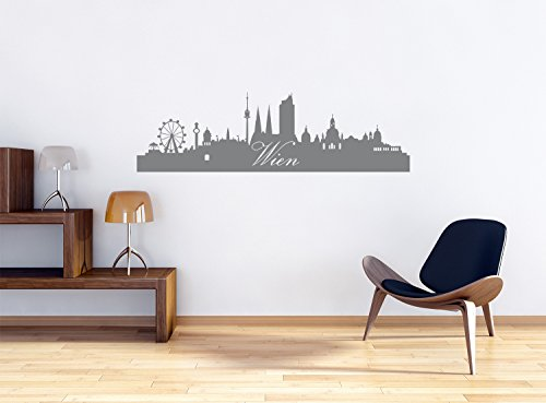 Skyline Wien Wandtattoo Format: 300x90 mm_a Wandbild, Wandaufkleber, Wandsticker Dekoration für Wohnzimmer, Schlafzimmer und Kinderzimmer