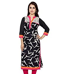INDIA FASHION SHOP BLACK WHITE PRINTED COTTON KURTI