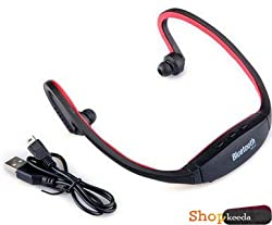 M Tech Opal Q6 COMPATIBLE BS19 Wireless Bluetooth On-ear Sports Headset Headphones (with Micro Sd Card Slot and FM Radio) RED