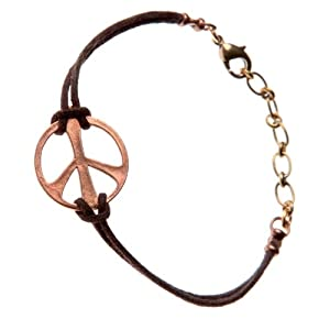 Medium Peace Symbol Peace Bronze Adjustable Cord Bracelet