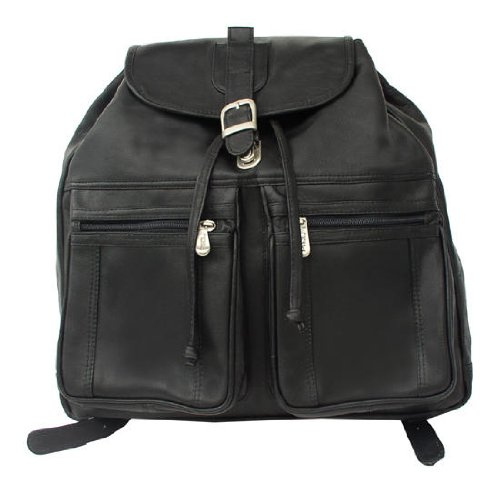 B000X6JG7Y Piel Leather Drawstring Laptop Backpack (Black)