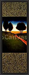 16in x 41in Lighted Path II by Gregory Williams - Black Floater Framed Canvas w/ BRUSHSTROKES